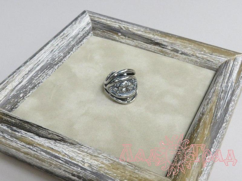 Кольцо Зерна/плодородие с крестом РУ-К1.056 (оберег, посеребрение)