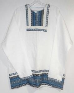 Рубаха мужская льняная белая с синей отделкой