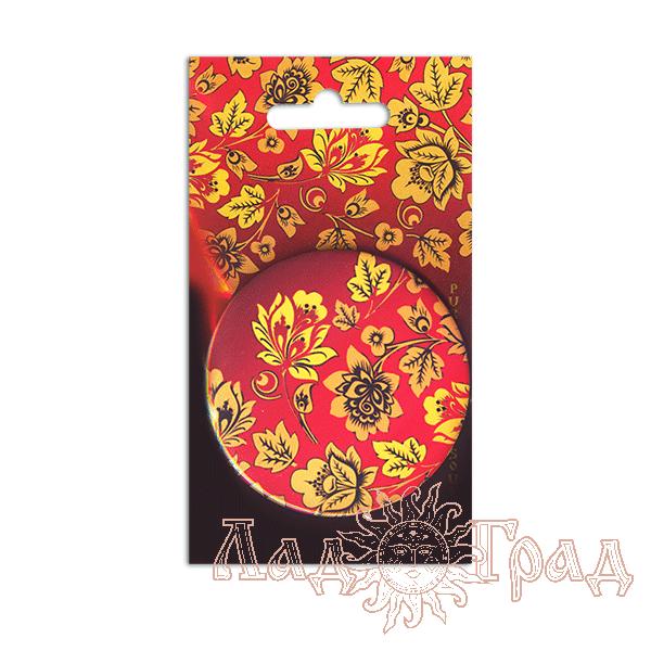 Зеркало карманное 7,5 см Хохлома на красном фоне