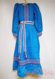 Платье детское голубое С-365 (лен+домоткань)
