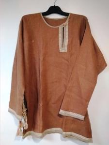 Рубаха мужская косоворотка льняная светло-коричневая с поясом, 52-54