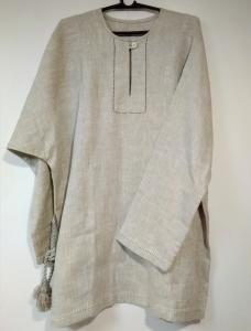 Рубаха мужская льняная серая