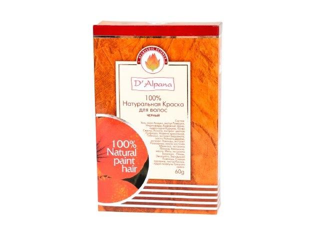 Краска для волос натуральная Черный, 60 гр. D'Alpana