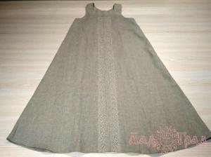 Сарафан (под косоклинный) серый с кружевом рр 46-48