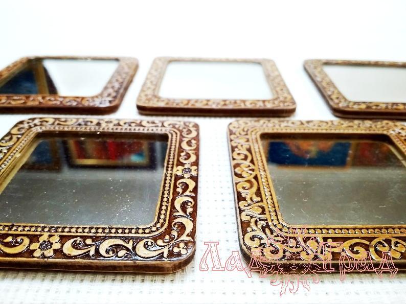 Зеркало квадратное из бересты 1шт.