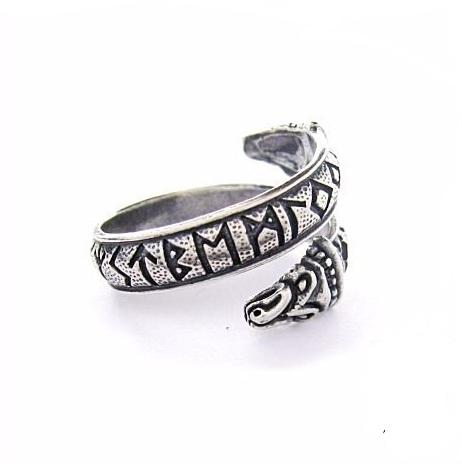 Кольцо с Драконами и старшим Футарком РУ-К2.023 серебро