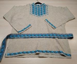 Рубаха мужская льняная с ситцевой отделкой и поясом (рр48-52)