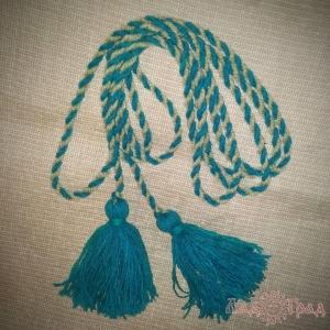 Пояс кручёный серо-голубой с голубыми кистями, ~300 см