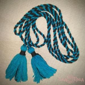 Пояс кручёный чёрно-голубой с голубыми кистями, ~300 см