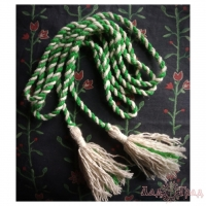 Пояс кручёный зелёно-бежевый с бежевыми кистями, ~300 см