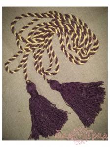 Пояс кручёный жёлто-фиолетовый с фиолетовыми кистями, ~300 см