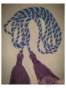 Пояс кручёный фиолетово-голубой с фиолетовыми кистями, ~300 см