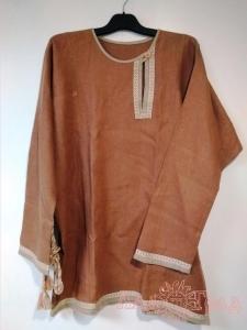 Рубаха мужская косоворотка льняная коричневая на пуговицах с поясом, 52-54