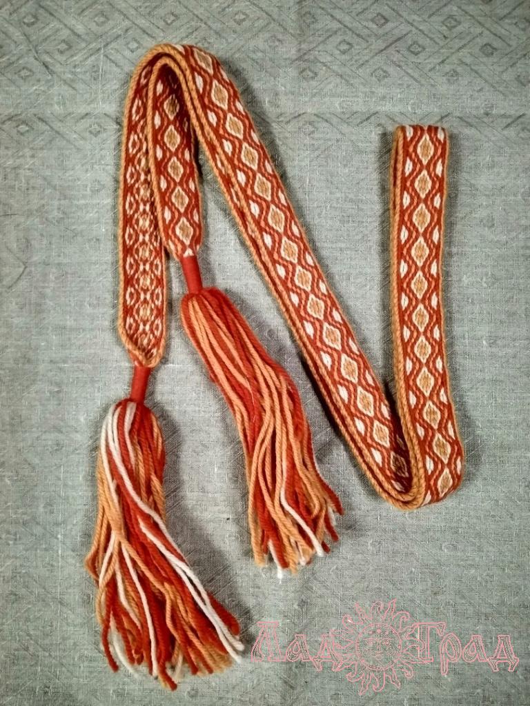 Пояс Бежевый с оранжевым и красным
