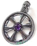 Колесо Сварога с камнем РУ-П4.114 (оберег, посеребрение)