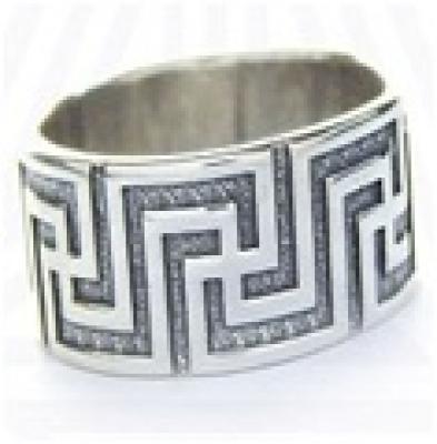 Кольцо Свастичный меандр  РУ-К2.030 (оберег, латунь)