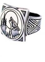 Кольцо Волк  РУ-К2.015 (оберег, посеребрение)