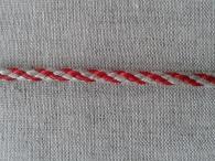 Шнур отделочный, лён с красным, 5 мм