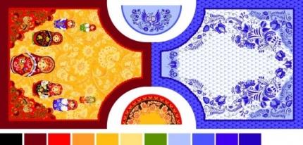 """Рогожка """"Кухонный набор Хохлома"""" сине-красный (фартуки, купон)"""