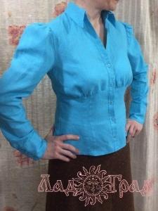 Блузка льняная бирюзовая_1