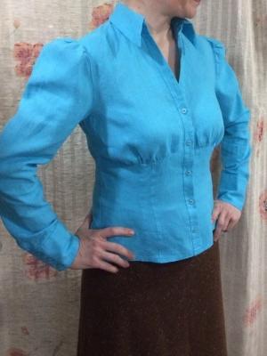 Блузка льняная бирюзовая