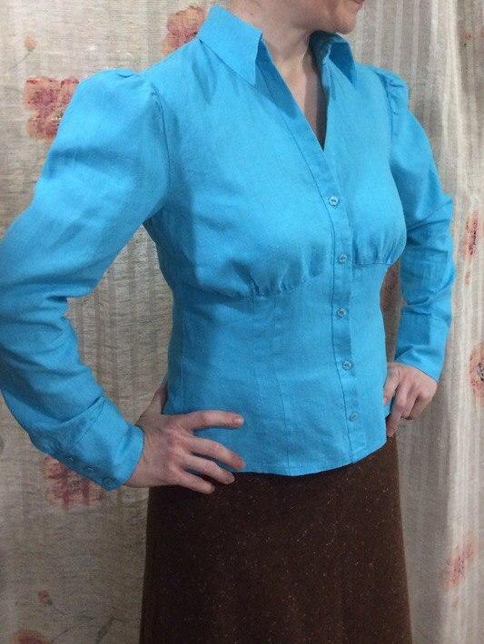 Блузка льняная бирюзовая, 46-48