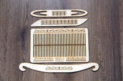 Набор для ткачества на 60 нитей с гравировкой (бердо, державки, нож, челнок)