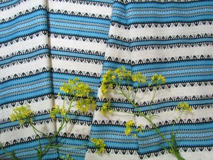 Ткань узорная ЛЕПОТА синяя