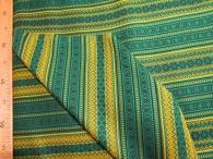 Ткань узорная Орепей зелёный с жёлтым