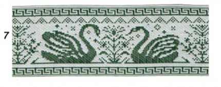 "Лента отд. ""Лебеди"" зелен.на белом (9364-7) шир.65мм"