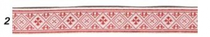 """Лента отд. жаккард """"Засеянное поле"""" 6714-2, красн. на белом, 18 мм"""
