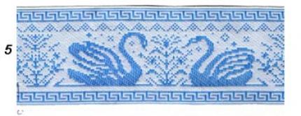 """Лента отд. """"Лебеди"""" голуб.на белом (9364-5) шир.65мм"""