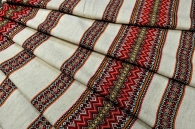 Ткань узорная Ворожея красная с жёлтым