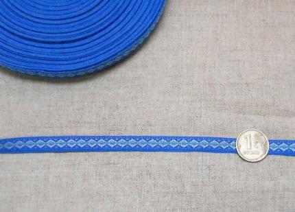 """Лента отд. жаккард """"Ромбики"""" 9328-13, сине-голубой, 10 мм"""