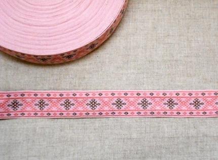 """Лента отд. жаккард """"Родильная"""" 6820-3, розовая, 22 мм"""