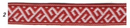 """Лента отд. """"Растительный орнамент"""" 9354-2, бел. на красном, 25 мм"""