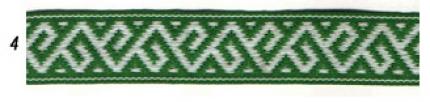 """Лента отд. """"Растительный орнамент"""" 9354-4, бел. на зелёном, 25 мм"""