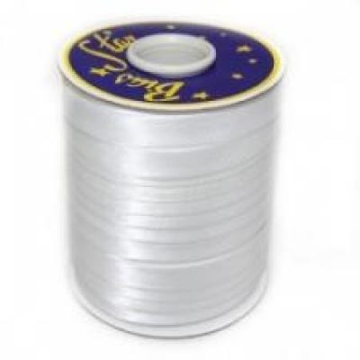 Косая бейка атласная, белая, 2 см