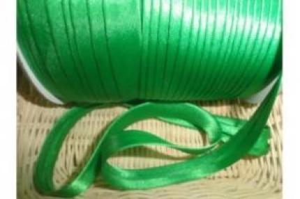 Косая бейка атласная, зелёная, 1,5 см