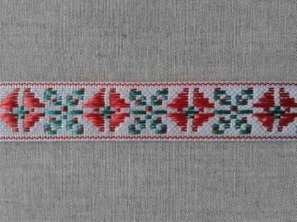 """Лента отд. """"Растительный орнамент"""" красн. с зеленым на белом, 20мм 2С296-Г50"""