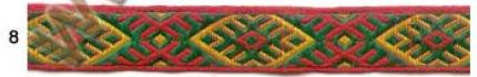 "Лента отд. жаккард ""Солнечная"" 9227-8, зелён.-золотая на красном, 18 мм"