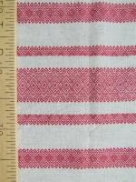 Ткань узорная Макошь красная на сером