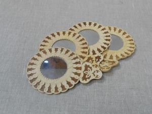 Зеркальце берестяное круглое с ручкой