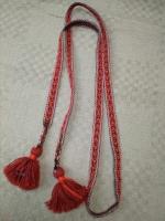 Пояс тканный на бердо бордово-красный