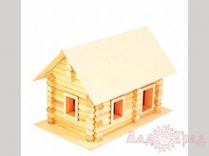 Деревянный домик-конструктор «Бревенчатый сруб» 122 элем., в картоне_1