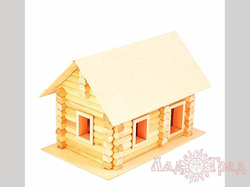 Деревянный домик-конструктор «Бревенчатый сруб» 122 элем., в картоне