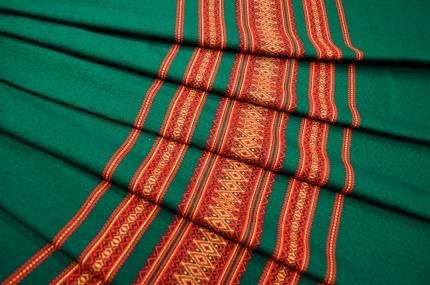 Ткань узорная МАРЬЯНА зелёная