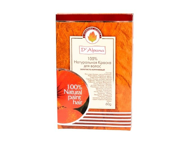 Краска для волос натуральная Золотисто-коричневый, 60 гр. D'Alpana