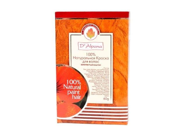 Краска для волос натуральная Золотистый каштан, 60 гр. D'Alpana