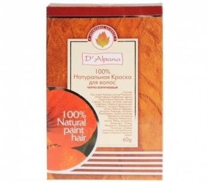 Краска для волос натуральная Черно-коричневая, 60 гр